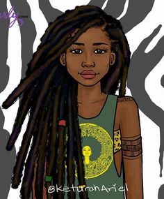 In the book The Last King, Emmy has an afro, but I could imagine her doing some locs like this in her younger years. Black Girl Art, Black Women Art, Black Girls Rock, Black Girl Magic, Black Art, Art Girl, Natural Hair Art, Pelo Natural, Natural Hair Styles
