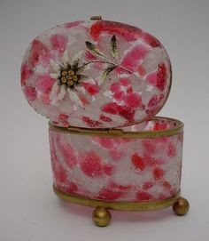 ANTIQUE CRANBERRY WHITE OPALINE CRACKLE GLASS CASKET | eBay