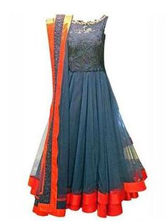Grey blue sleeveless anarkali and dupatta with ornage border. Yolk with lace. Jade by Monica and Karishma.