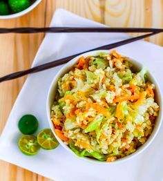 How about Skinny Garlic Fried Rice made with cabbage, garlic and ginger? Here's the recipe!