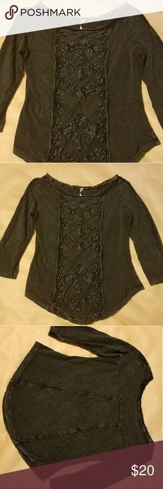 Free People 3/4 Sleeve Shirt Excellent Pre-owned Condition with a distressed look.  100% cotton.  Black, size medium. Free People Tops Blouses