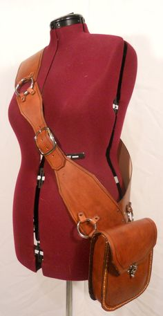 Awesome leather bandolier with pouch.