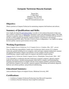 Computer Technician Resume Example We Provide As Reference To Make Correct  And Good Quality Resume.