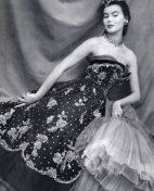 Christian Dior evening gown, 1950 - Read blogpost at http://www.whitestole.com/1/post/2013/07/dior-and-the-umbrellas-of-cherbourg.html See couture collection at www.whitestole.com