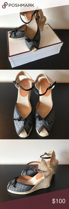 """🌟EUC🌟Coach Megan Black Espadrille Wedges Size 8 🌟EUC🌟Coach Megan Black Espadrille Wedges Size 8  🔹Worn only a couple times to office environment (practically new) 🔹4"""" heel 🔹1/2"""" platform 🔹Comes with original box  ✅Offers Welcome w/Offer Button 🚫Trade 🚫PP 💰30%OffBundle 📦Ships1Day. Coach Shoes Espadrilles"""