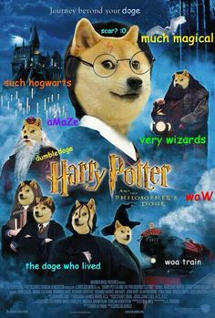 Harry Potter and Philosopher's Doge Much Magical Very wizards. I don't know why this is so funny to me! Funny Doge, Doge Meme, Funny Memes, Hilarious, Harry Potter Universe, Harry Potter Fandom, Harry Potter Memes, Animal Memes, Funny Animals