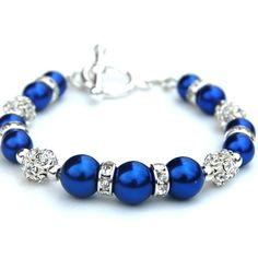 Royal Blue Pearl Bling Bracelet ($18)