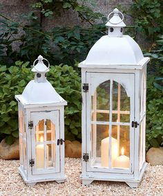 White Wood and Metal Lanterns by Transpac Imports White Lanterns, Metal Lanterns, Lanterns Decor, Candle Lanterns, Fire Candle, Lantern Centerpieces, Lantern Set, Lantern Candle Holders, Entertainment Center Decor