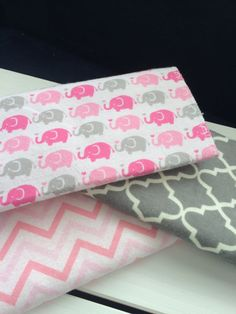 Burp Cloth Trio Pink Elephant on Parade Pink and Gray by wfyt