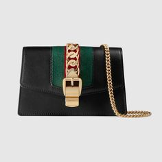 Gucci Super Mini Sylvie Leather Shoulder Bag In 1060 Black Burberry Handbags, Chanel Handbags, Burberry Bags, Chanel Bags, Nylons, Gucci Sylvie, Gucci Store, Gucci Gifts, Bags