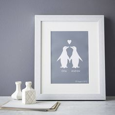 Celebrate your love with a personalised penguin couple print from Elephant Grey. £25.00