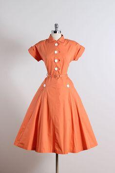 Creamsicle. vestido vintage de los años 1950. por millstreetvintage