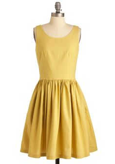 From Mod Cloth, Honey-Dipped Cookies Dress - Mid-length, Work, Vintage Inspired, Yellow, Solid, Pockets, Party, A-line, Sleeveless