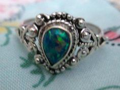 RING  - Fire OPAL  - Blue - Green - ORNATE  - 925 - Sterling Silver - size 7 1/2  opal 487 by MOONCHILD111 on Etsy