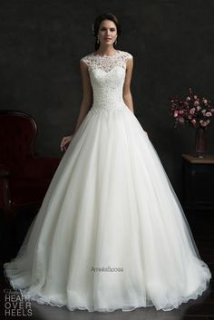 Illusion neckline wedding dresses help to give a slightly more modest feel to a bridal design. This sleeveless ball gown style wedding dress can be ea. Illusion neckline wedding dresses help to give a slightly more modest feel to a . Illusion Neckline Wedding Dress, Wedding Dress Organza, Wedding Dress Necklines, Lace Bodice, Tulle Lace, Popular Wedding Dresses, Dream Wedding Dresses, Bridal Dresses, Wedding Gowns