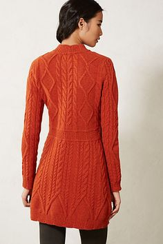 Cabled Sweater Coat - anthropologie.com Love the cabling on this, especially the interesting detail at the hem!