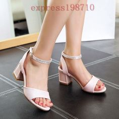 Sweet Womens Grace Chunky Heel Open Toe Slingbacks Ankle Strap Sandals Plus Size
