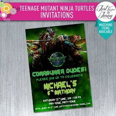 Printable Teenage Mutant Ninja Turtles birthday invitation by JustForYouByJenny on Etsy