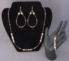 Plum and Cream Beaded Jewelry Set - http://www.etsy.com/shop/BHawkDesigns