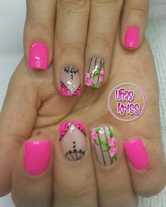 Pedicure Designs, Cute Nail Designs, Purple And Pink Nails, Hot Nails, Flower Nails, Nail Manicure, Nail Arts, Hair Beauty, Make Up