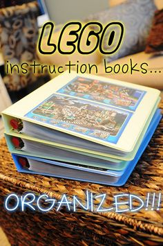 Lego instruction books, organized in page protectors and binders