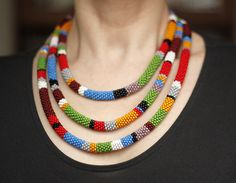 Long African Necklace, Long Bead Crochet Wrap Necklace, Layered Necklace, Triple Strand Necklace, Maasai Style Double Strand Necklace