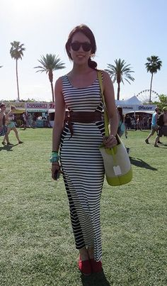 Illusion stripes on this maxi dress accentuate beautifully