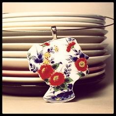 Madeline Plate Wear Pendant- Recycled China. $30.00, via Etsy.