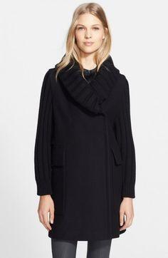 Burberry Brit Gransmead Knit Trim Wool Blend Coat   Clothing