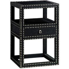 Bungalow 5 Marco Black 1-Drawer Side Table (¥109,145) ❤ liked on Polyvore featuring home, furniture, tables, accent tables, black storage table, square table, storage bedroom sets, storage side table and black lamp table