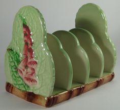 Carlton Ware Art Deco 'Foxglove' 4 Slice Green Toast Rack