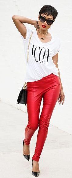 Metallic Red Skinnies by Micah Gianneli