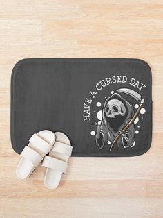"""""""Have a cursed day"""" Bath Mat by ninthstreet   Redbubble Cotton Tote Bags, Bath Mat, Nerdy, Kids Outfits, Cool Designs, Pouch, Tapestry, Mugs, Day"""
