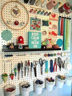 Craft Room Organization Ideas For You - craft room storage - Craft Room Storage, Pegboard Craft Room, Sewing Room Storage, Sewing Room Organization, Sewing Rooms, Organization Ideas, Studio Organization, Sewing Spaces, Craft Room Organizing