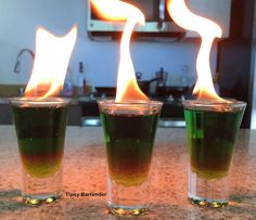 The Night Night Daddy Shots. This insane flaming shot is based on the evil curse in the new movie SINISTER 2. This will be the HIT at your next party! All your friends will love these! To see how we did it, visit us here: http://www.tipsybartender.com/blog/2015/8/17/night-night-daddy-shots