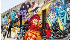 Original mural by 3 international artists in downtown Washington DC. Produced by Pow!Wow!