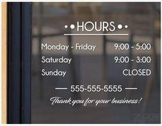 Very Ornamental Custom Business Store Hours Window Decal Sticker Sign Door
