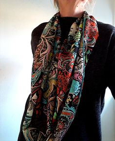 d00f045989ba Foulard femme,écharpe femme, accessoire femme, tissu viscose multicolore ,  motif cachemire,foulard léger, style bohème, écharpe infini