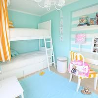 Ana Antunes - girl's rooms - white, yellow, curtains, white, bunk beds, turquoise, blue, striped, walls, ocean blue, rug, layered, carpet, w...