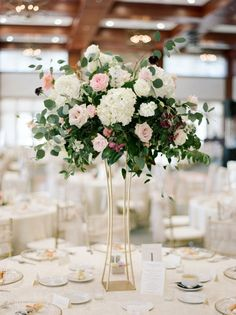 Wedding Flowers Tall Hydrangea and rose wedding centerpiece // gold modern vase, boho, industrial, loft wedding - This spring bride looks gorgeous in her long sleeve gown by Hayley Paige. Tall Wedding Centerpieces, Wedding Table Centerpieces, Floral Centerpieces, Floral Arrangements, Wedding Decorations, Centerpiece Ideas, Table Decorations, Quinceanera Centerpieces, White Centerpiece