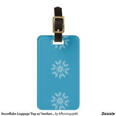 Snowflake Luggage Tag w/ leather strap
