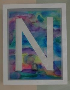 tape resist watercolor initial from #paintcutpaste (an oldie but a goodie)