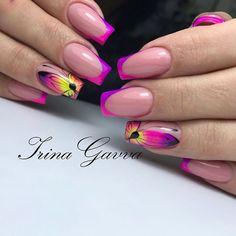 Домашний маникюр | Дизайн ногтей новинки Neon Nails, Love Nails, Pink Nails, Pretty Nails, French Nails, Square Gel Nails, Pink Nail Colors, Airbrush Nails, Nagel Hacks