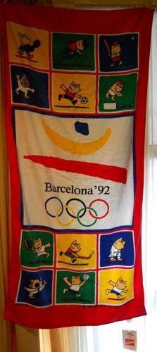 Coca Cola Olympic Beach Towel Barcelona Spain 1992 Cobi Mascot New with Tags | eBay