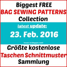 Biggest Free Bag Sewing Patterns Collection / Größte Taschen-Schnittmuster Sammlung