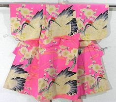 This is a girl's vintage kimono with large crane and 'ume'(Japanese plum) pattern, which is dyed