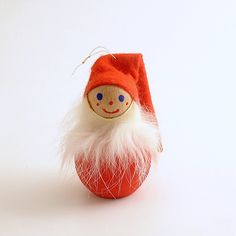 Vintage Christmas Ornament Wood Tomte Figurine Santa Denmark Scandinavian by…