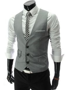 TheLees Mens slim fit chain point 3 button vest Gray - The guys would look  good b2332bb29b9a8