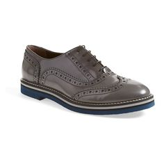 """AGL Attilio Giusti Leombruni Brogue Oxford, 1"""" heel ($355) ❤ liked on Polyvore featuring shoes, oxfords, smoke leather, wingtip brogues, brogue shoes, platform shoes, leather oxford shoes and wingtip shoes"""