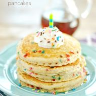 Skinny Funfetti Buttermilk Pancakes are fluffy, taste like cake, and won't wreck your diet!